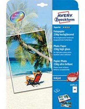 AVERY Zweckform 2495-20 Superior Inkjet Fotopapier, DIN A4, einseitig beschichtet, 230 g/m², 20 Bla 2495-20