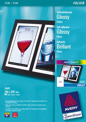 AVERY Zweckform 2507 Glossy Folien, DIN A4, einseitig beschichtet, 50 Bogen 2507Z