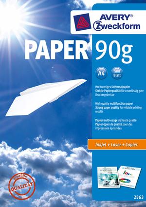 AVERY Zweckform 2563 Drucker- und Kopierpapier, DIN A4, unbeschichtet, 90 g/m², ColorLok® Technologie, 500 Blatt 2563Z