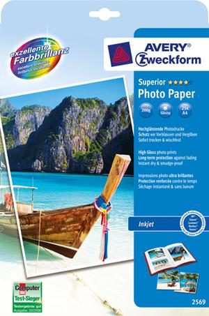 AVERY Zweckform 2569 Superior Inkjet Fotopapier, DIN A4, beidseitig beschichtet, 200 g/m², 25 Blatt 2569Z