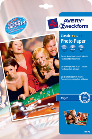 AVERY Zweckform 2570 Classic Inkjet Fotopapier, DIN A4, beidseitig beschichtet, 180 g/m², 10 Blatt Zweckform;2570