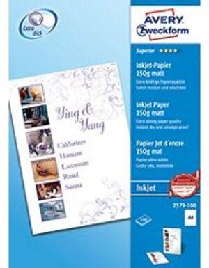 AVERY Zweckform 2579-100 Superior Inkjet Papier, DIN A4, einseitig beschichtet, 150 g/m², 100 Blatt 2579-100