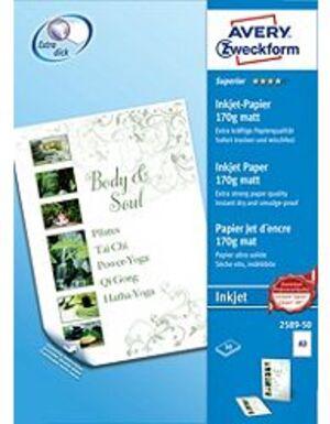 AVERY Zweckform 2589-50 Superior Inkjet Papier, DIN A3, beidseitig beschichtet, 170 g/m², 50 Blatt 2589-50