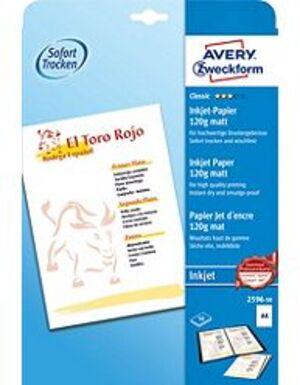 AVERY Zweckform 2596-50 Classic Inkjet Papier, DIN A4, einseitig beschichtet, 120 g/m², 50 Blatt 2596-50