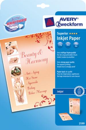 AVERY Zweckform 2599 Superior Inkjet Papier, DIN A4, einseitig beschichtet, 150 g/m², 25 Blatt 2599