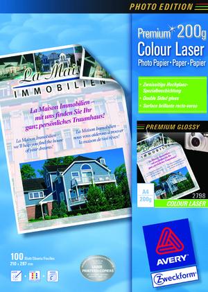 AVERY Zweckform 2798 Premium Colour Laser Papier, DIN A4, beidseitig beschichtet, 200 g/m², 100 Blatt 2798