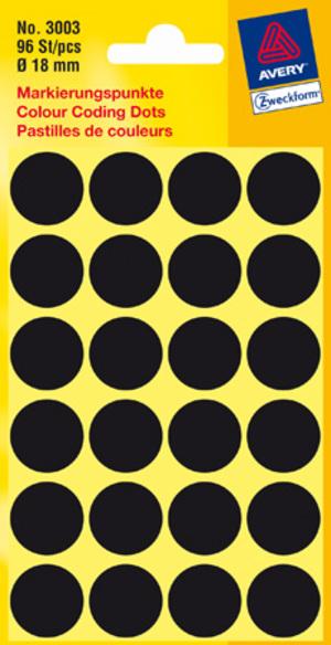 AVERY Zweckform 3003 Markierungspunkte, Ø 18 mm, 4 Bogen/96 Etiketten, schwarz 3003
