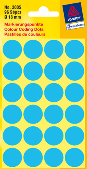AVERY Zweckform 3005 Markierungspunkte, Ø 18 mm, 4 Bogen/96 Etiketten, blau 3005