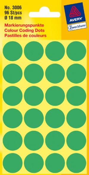 AVERY Zweckform 3006 Markierungspunkte, Ø 18 mm, 4 Bogen/96 Etiketten, grün 3006