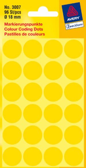 AVERY Zweckform 3007 Markierungspunkte, Ø 18 mm, 4 Bogen/96 Etiketten, gelb Zweckform;3007