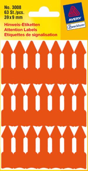 AVERY Zweckform 3008 Etiketten in Sonderformaten, 39 x 9 mm, 3 Bogen/63 Etiketten, leuchtorange 3008