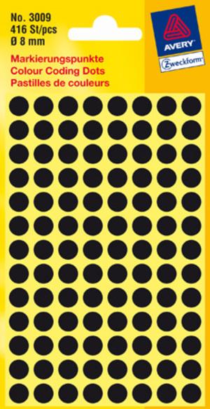 AVERY Zweckform 3009 Markierungspunkte, Ø 8 mm, 4 Bogen/416 Etiketten, schwarz 3009