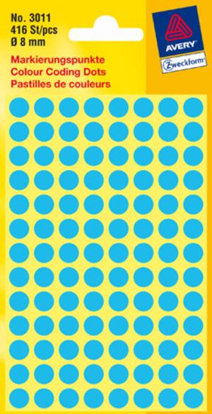 AVERY Zweckform 3011 Markierungspunkte, Ø 8 mm, 4 Bogen/416 Etiketten, blau 3011