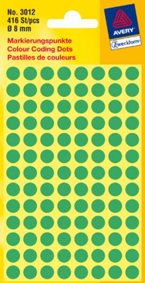 AVERY Zweckform 3012 Markierungspunkte, Ø 8 mm, 4 Bogen/416 Etiketten, grün 3012