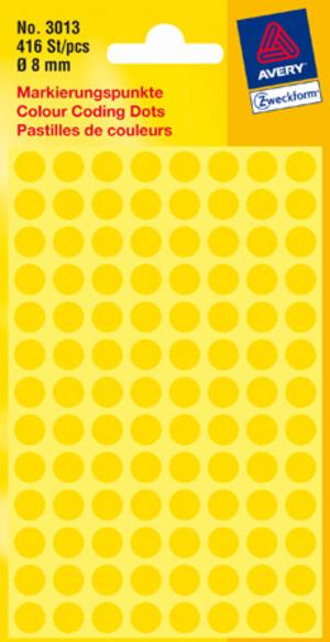 AVERY Zweckform 3013 Markierungspunkte, Ø 8 mm, 4 Bogen/416 Etiketten, gelb 3013