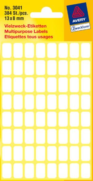 AVERY Zweckform 3041 Vielzweck Etiketten, 13 x 8 mm, 6 Bogen/384 Etiketten, weiss Zweckform;3041