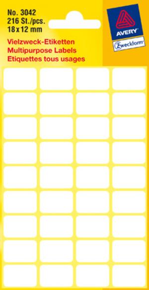 AVERY Zweckform 3042 Vielzweck Etiketten, 18 x 12 mm, 6 Bogen/216 Etiketten, weiss 3042