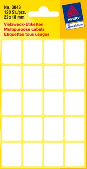 AVERY Zweckform 3043 Vielzweck Etiketten, 22 x 18 mm, 6 Bogen/120 Etiketten, weiss 3043