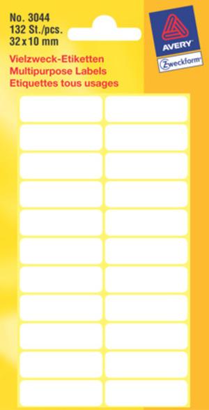 AVERY Zweckform 3044 Vielzweck Etiketten, 32 x 10 mm, 6 Bogen/132 Etiketten, weiss Zweckform;3044