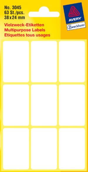 AVERY Zweckform 3045 Vielzweck Etiketten, 38 x 24 mm, 7 Bogen/63 Etiketten, weiss 3045