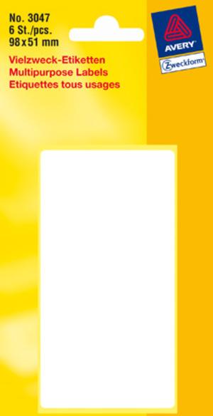 AVERY Zweckform 3047 Universal-Etiketten, 98 x 51 mm, 6 Bogen/6 Etiketten, weiss 3047