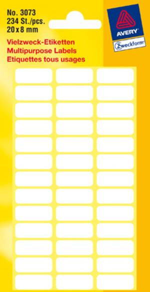 AVERY Zweckform 3073 Vielzweck Etiketten, 20 x 8 mm, 6 Bogen/234 Etiketten, weiss Zweckform;3073