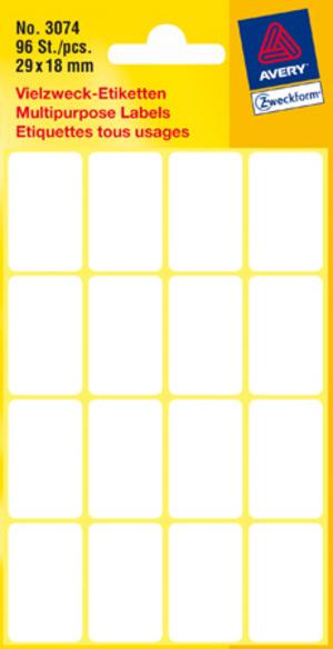 AVERY Zweckform 3074 Vielzweck Etiketten, 29 x 18 mm, 6 Bogen/96 Etiketten, weiss Zweckform;3074