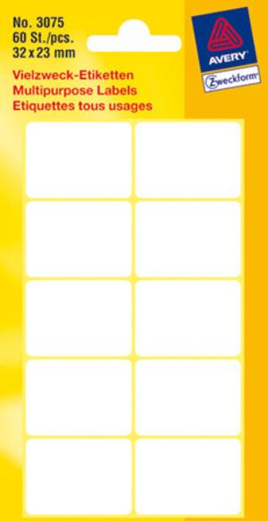 AVERY Zweckform 3075 Vielzweck Etiketten, 32 x 23 mm, 6 Bogen/60 Etiketten, weiss Zweckform;3075
