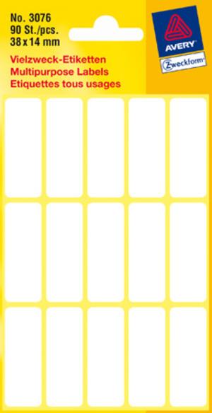 AVERY Zweckform 3076 Vielzweck Etiketten, 38 x 14 mm, 6 Bogen/90 Etiketten, weiss Zweckform;3076