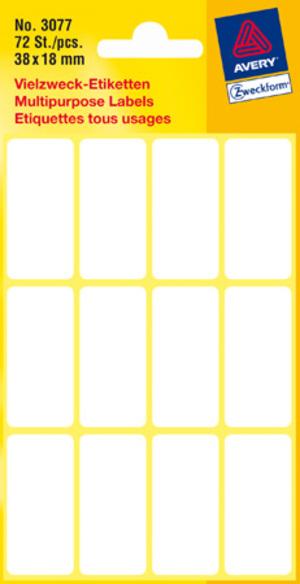 AVERY Zweckform 3077 Vielzweck Etiketten, 38 x 18 mm, 6 Bogen/72 Etiketten, weiss Zweckform;3077