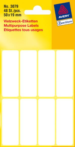 AVERY Zweckform 3079 Universal-Etiketten, 50 x 19 mm, 6 Bogen/48 Etiketten, weiss 3079