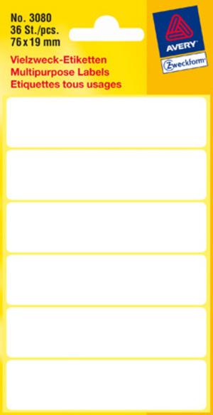 AVERY Zweckform 3080 Universal-Etiketten, 76 x 19 mm, 6 Bogen/36 Etiketten, weiss 3080