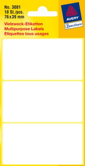 AVERY Zweckform 3081 Universal-Etiketten, 76 x 39 mm, 6 Bogen/18 Etiketten, weiss Zweckform;3081