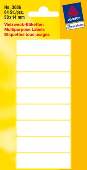 AVERY Zweckform 3086 Universal-Etiketten, 50 x 14 mm, 8 Bogen/64 Etiketten, weiss 3086