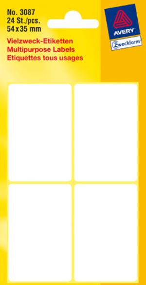 AVERY Zweckform 3087 Universal-Etiketten, 54 x 35 mm, 6 Bogen/24 Etiketten, weiss 3087