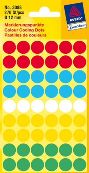 AVERY Zweckform 3088 Markierungspunkte, Ø 12 mm, 5 Bogen/270 Etiketten, farbig sortiert Zweckform;3088