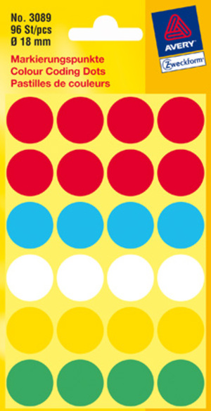 AVERY Zweckform 3089 Markierungspunkte, Ø 18 mm, 4 Bogen/96 Etiketten, farbig sortiert 3089
