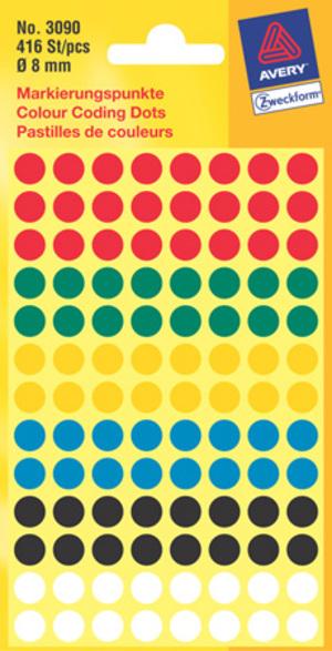 AVERY Zweckform 3090 Markierungspunkte, Ø 8 mm, 4 Bogen/416 Etiketten, farbig sortiert 3090