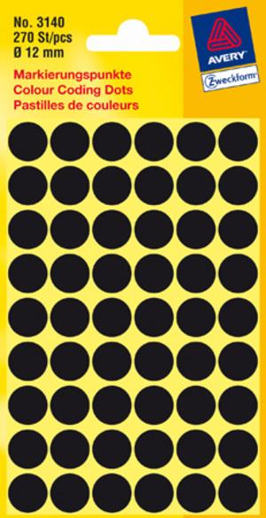 AVERY Zweckform 3140 Markierungspunkte, Ø 12 mm, 5 Bogen/270 Etiketten, schwarz 3140