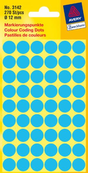 AVERY Zweckform 3142 Markierungspunkte, Ø 12 mm, 5 Bogen/270 Etiketten, blau 3142