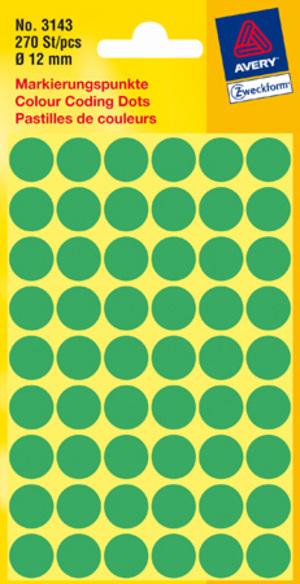 AVERY Zweckform 3143 Markierungspunkte, Ø 12 mm, 5 Bogen/270 Etiketten, grün 3143