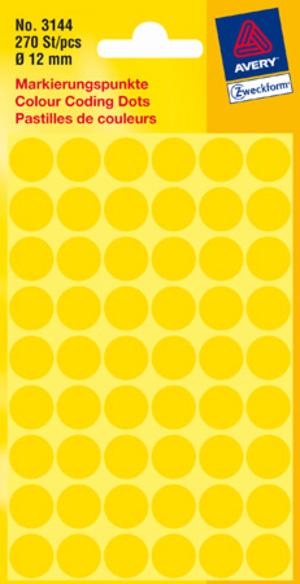 AVERY Zweckform 3144 Markierungspunkte, Ø 12 mm, 5 Bogen/270 Etiketten, gelb 3144