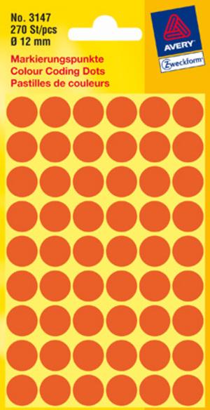 AVERY Zweckform 3147 Markierungspunkte, Ø 12 mm, 5 Bogen/270 Etiketten, leuchtrot 3147