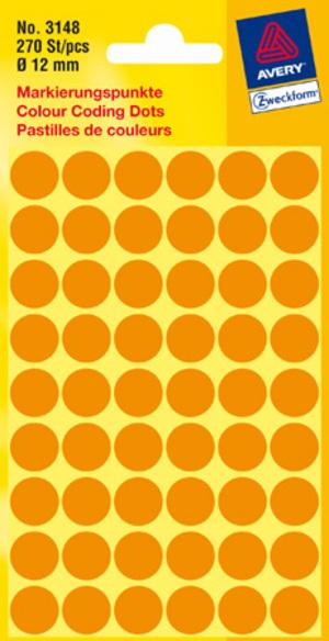 AVERY Zweckform 3148 Markierungspunkte, Ø 12 mm, 5 Bogen/270 Etiketten, leuchtorange 3148