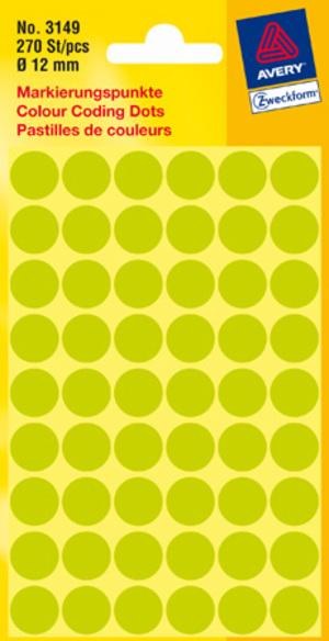 AVERY Zweckform 3149 Markierungspunkte, Ø 12 mm, 5 Bogen/270 Etiketten, leuchtgrün 3149