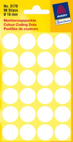 AVERY Zweckform 3170 Markierungspunkte, Ø 18 mm, 4 Bogen/96 Etiketten, weiss Zweckform;3170