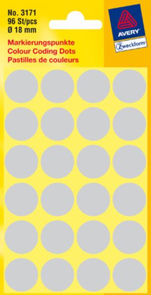 AVERY Zweckform 3171 Markierungspunkte, Ø 18 mm, 4 Bogen/96 Etiketten, grau 3171