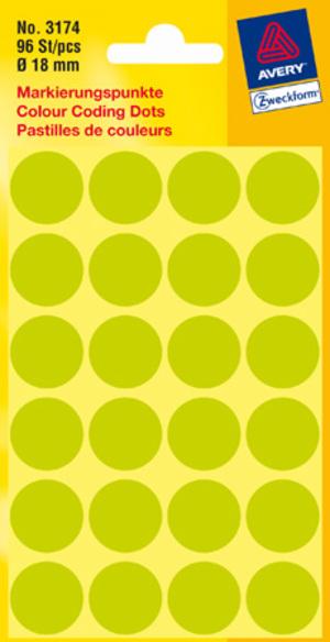 AVERY Zweckform 3174 Markierungspunkte, Ø 18 mm, 4 Bogen/96 Etiketten, leuchtgrün 3174