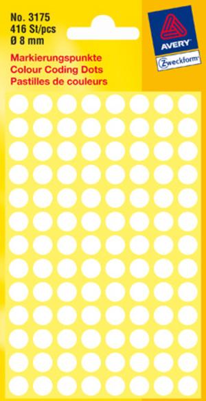 AVERY Zweckform 3175 Markierungspunkte, Ø 8 mm, 4 Bogen/416 Etiketten, weiss 3175