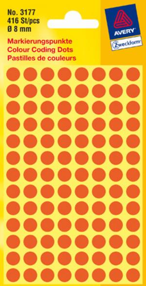 AVERY Zweckform 3177 Markierungspunkte, Ø 8 mm, 4 Bogen/416 Etiketten, leuchtrot 3177